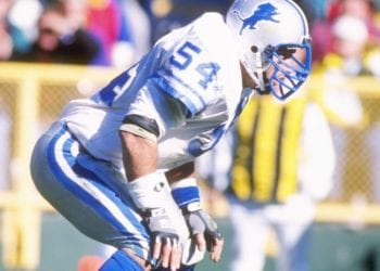 15 Oct 1995:  Linebacker Chris Spielman of the Detroit Lions watches the action during a game against the Green Bay Packers at Lambeau Field in Green Bay, Wisconsin.  The Packers won the game 30-21. Mandatory Credit: Jonathan Daniel  /Allsport